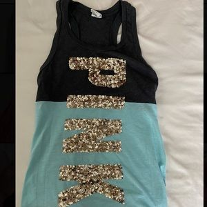 """""""Pink"""" Sequined Tank Top"""
